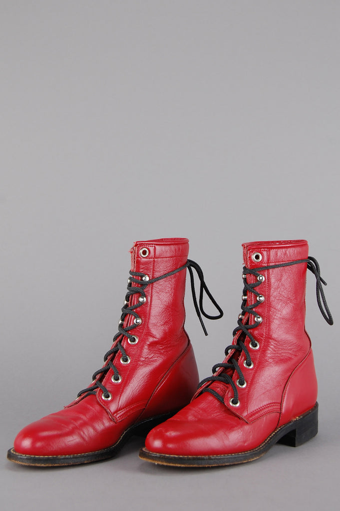 Cherry Red Justin Lace Up Leather Ankle Boots