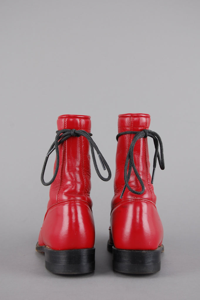 One More Chance Vintage - Vintage Cherry Red Justin Lace Up Leather Ankle Boots
