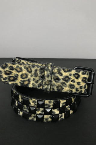Wild Cat Leopard Studded Belt