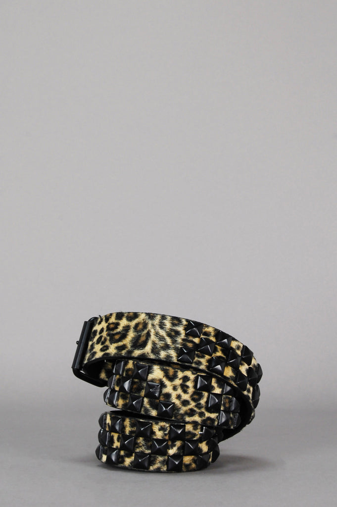 One More Chance Vintage - Vintage Wild Cat Leopard Studded Belt