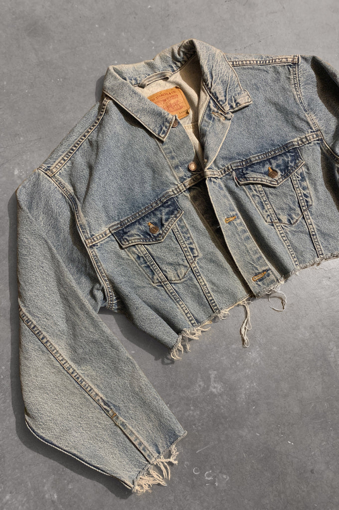 Blue Jean Baby Levis Distressed Cut Off Denim Crop Jacket - One More Chance Vintage