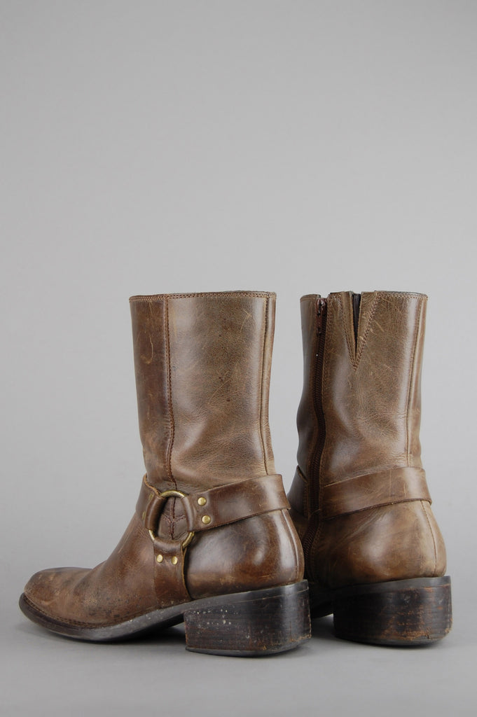 One More Chance Vintage - Vintage Light Brown Distressed Leather Harness Motorcycle Boots