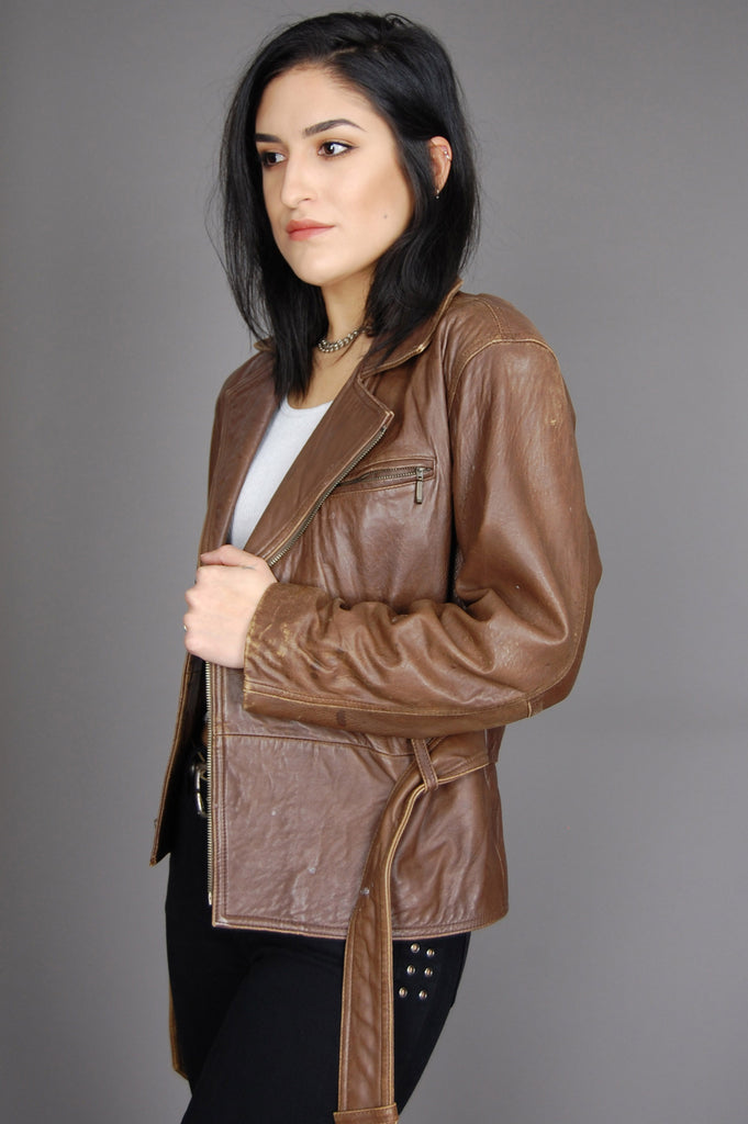 One More Chance Vintage - Vintage Rock Me Baby Soft Distressed Leather Moto Jacket