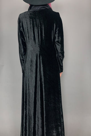 Vintage Wicked Woman Long Black Velvet Duster Jacket  Maxi Coat - One More Chance Vintage
