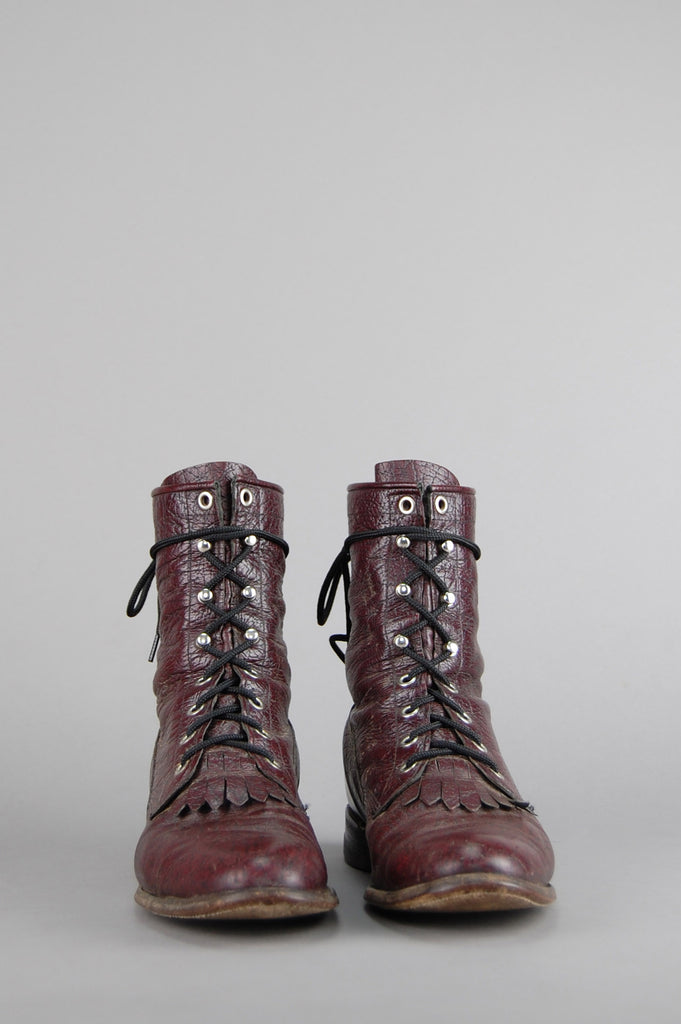 One More Chance Vintage - Vintage Maroon Justin Lace Up Distressed Leather Ankle Boots