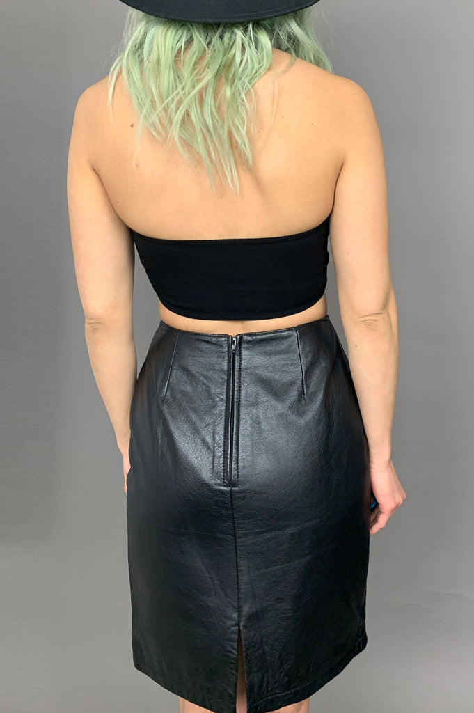 Night Wing Wilsons High Waisted Leather Skirt - Size 26 - One More Chance Vintage