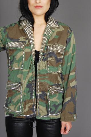 Military Army Camo Studded Jacket