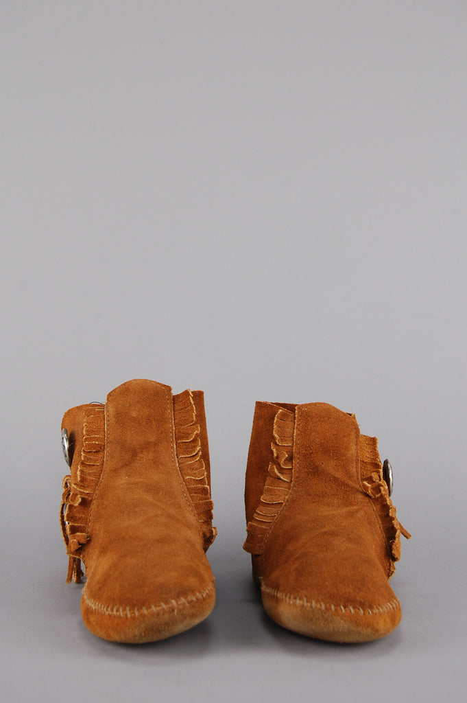 One More Chance Vintage - Vintage Minnetonka Concho Fringe Suede Leather Booties