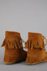 One More Chance Vintage - Vintage Minnetonka Moccasin Fringe Suede Leather Booties