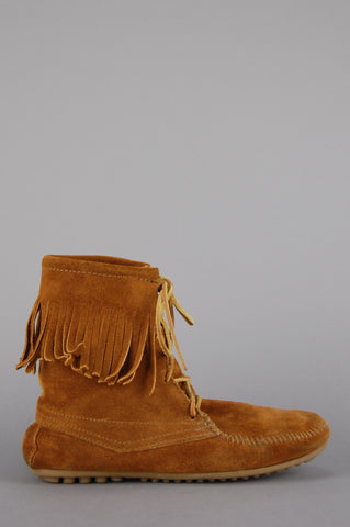 Minnetonka Moccasin Fringe Suede Leather Booties