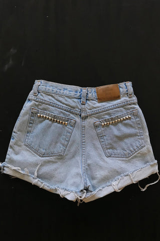 One More Chance Vintage - Punk Rock Lies Vintage Moda International Distressed Denim Studded Shorts