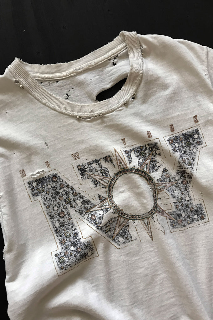 One More Chance Vintage - Punk Rock Lies Vintage NY New York Trashed Cutoff Studded Muscle Tee