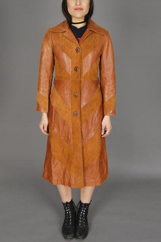 One More Chance Vintage - Vintage Napa Y Ante Skin Gear Soft Mexican Camel Cognac Suede Two Tone Leather Trench Coat