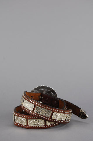One More Chance Vintage - Vintage I'm The One Nocona Concho Studded Leather Belt