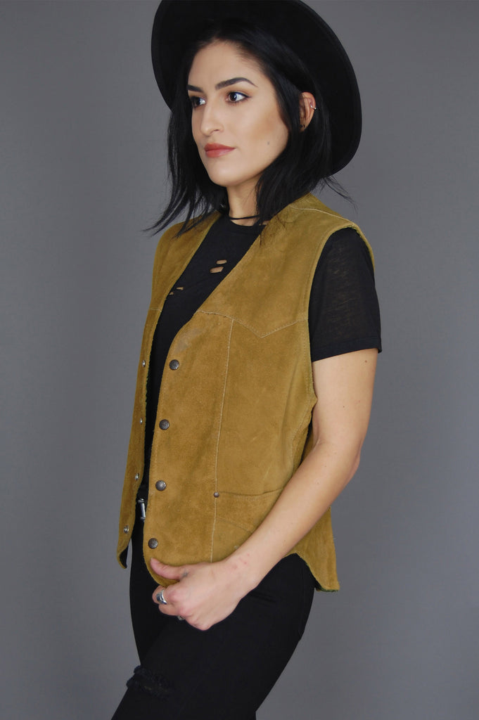 Pioneer Wear Distressed Suede Leather Vest