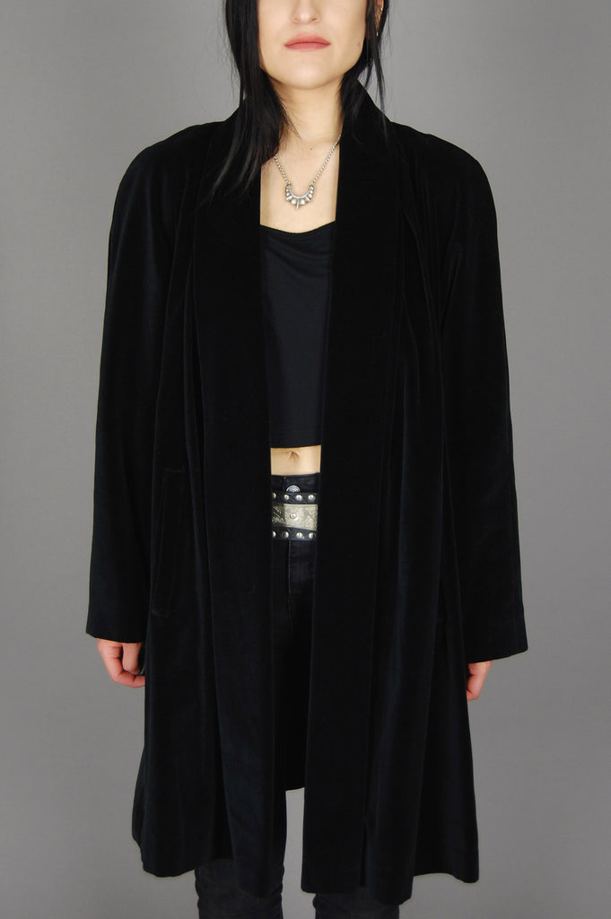 Vintage Preston and York Dillards Black Draped Velvet Coat Jacket - One More Chance Vintage