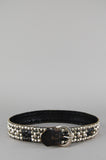 Vintage Punk Rock Black Wide Leather Studded Belt - One More Chance Vintage
