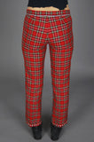 One More Chance Vintage - Vintage Punk Rock Lies Studded Bulldog Red Plaid Flannel Trouser Pants