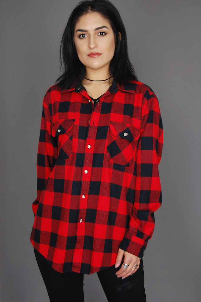 One More Chance Vintage - Vintage Timber Run Plaid Flannel Top