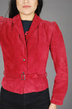 Cherry Red Wilson's Suede Leather Belted Jacket - One More Chance Vintage