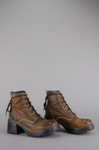 Roamer Chunky Leather Lace Up Ankle Boots