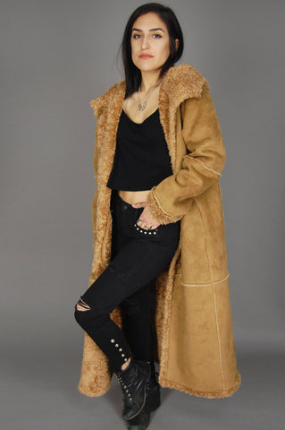 One More Chance Vintage - Vintage St Johns Bay Brown Suede Sherpa Faux Fur Hooded Maxi Over Coat