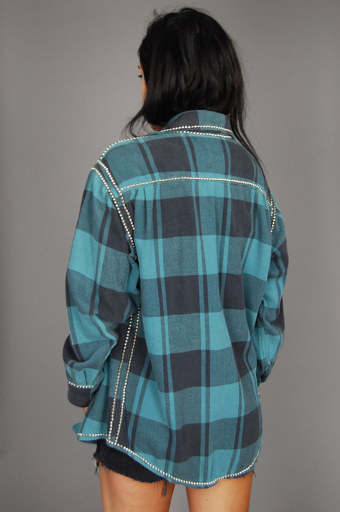 Punk Rock Lies Vintage Studded Plaid Flannel Jacket Top - One More Chance Vintage
