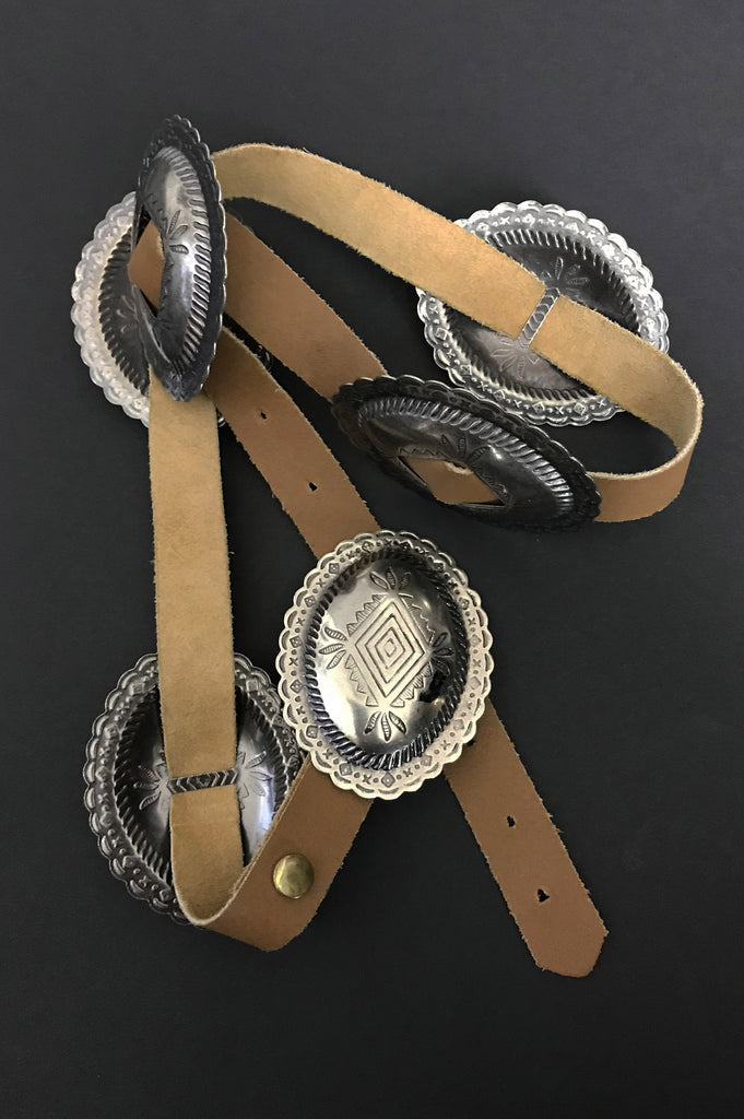 One More Chance Vintage - Vintage The Roamer Concho Leather Belt