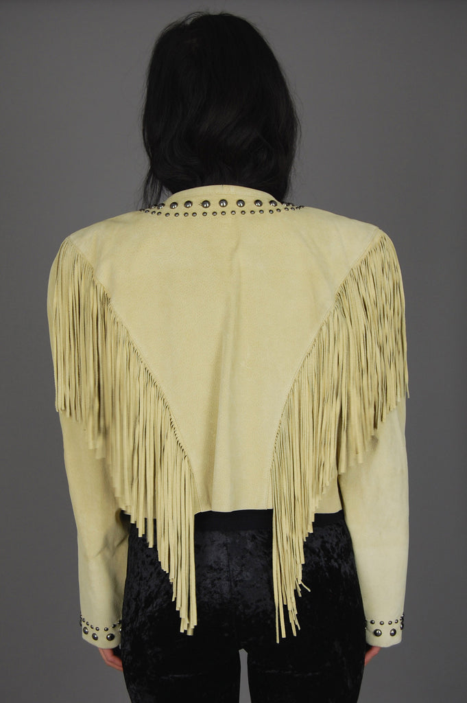 One More Chance Vintage - Vintage North American Frontier Studded Fringe Suede Leather Jacket