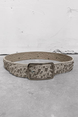 Vintage Rock & Roll Gray Suede Leather Studded Gemstone Belt - One More Chance Vintage
