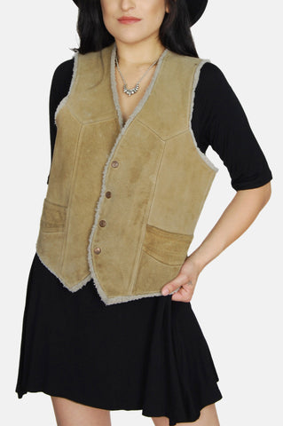 One More Chance Vintage - Vintage On The Road Sherpa Suede Leather Vest