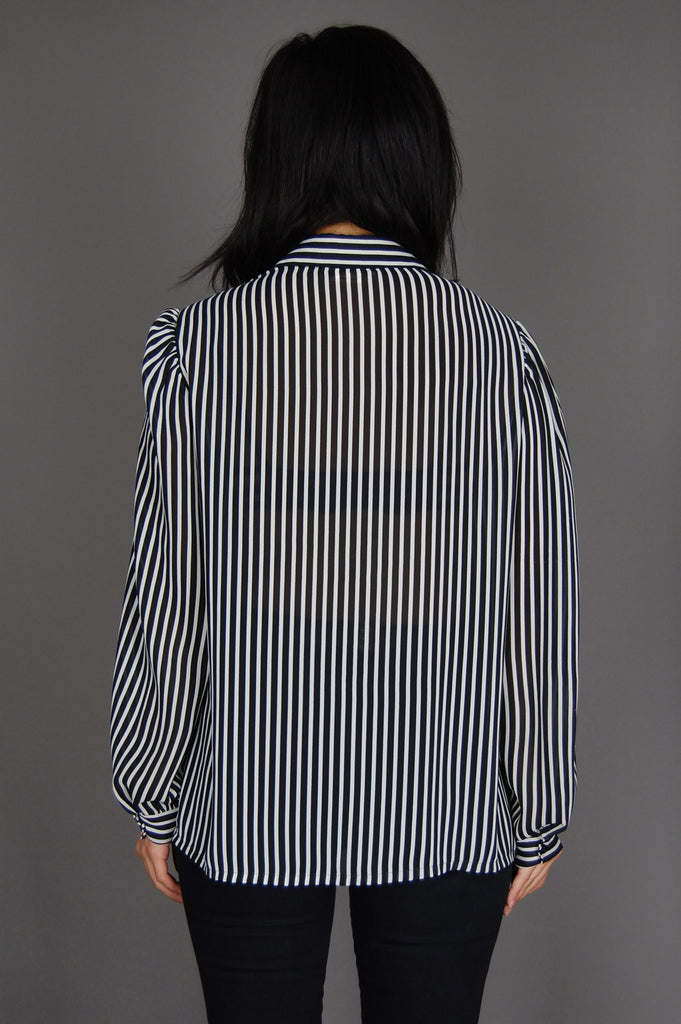 One More Chance Vintage - Vintage Day Tripper Striped Sheer Button Up Blouse