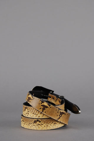 The Austin Snakeskin Skinny Leather Belt