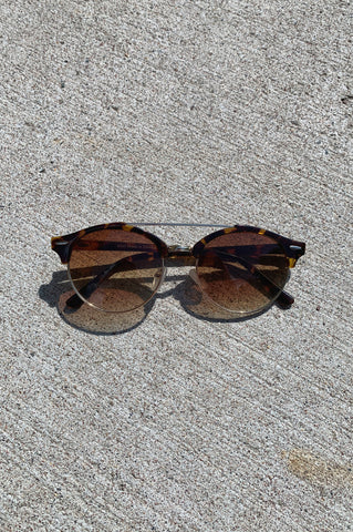 Vintage Adeline Round Top Bar Sunglasses - Tortoise - One More Chance Vintage