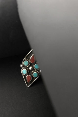 Turquoise Coral Inlay Ring