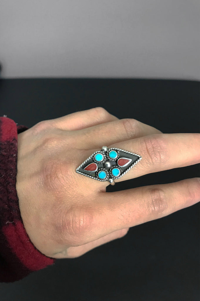 One More Chance Vintage - Vintage Turquoise Coral Inlay Ring