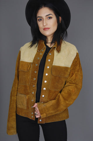 Two Tone Distressed Suede Leather Rancher Jacket