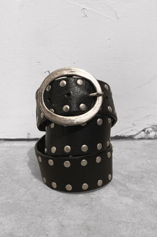Vintage Ramble On Black Leather Studded Belt - One More Chance Vintage