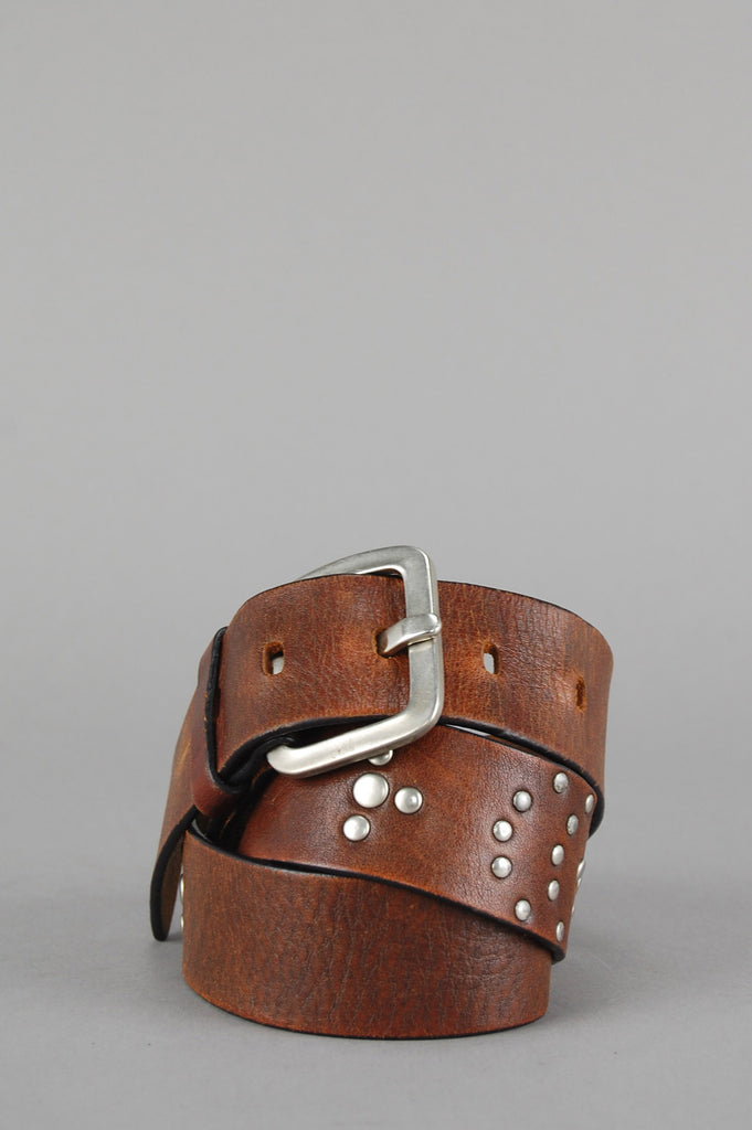 Vintage Whiskey Brown Studded Leather Belt - One More Chance Vintage