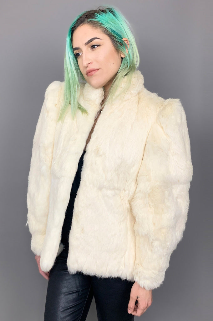 Cream White Soft Rabbit Fur Jacket - One More Chance Vintage
