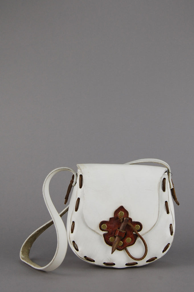 One More Chance Vintage - Vintage Carry On White Leather Saddle Bag