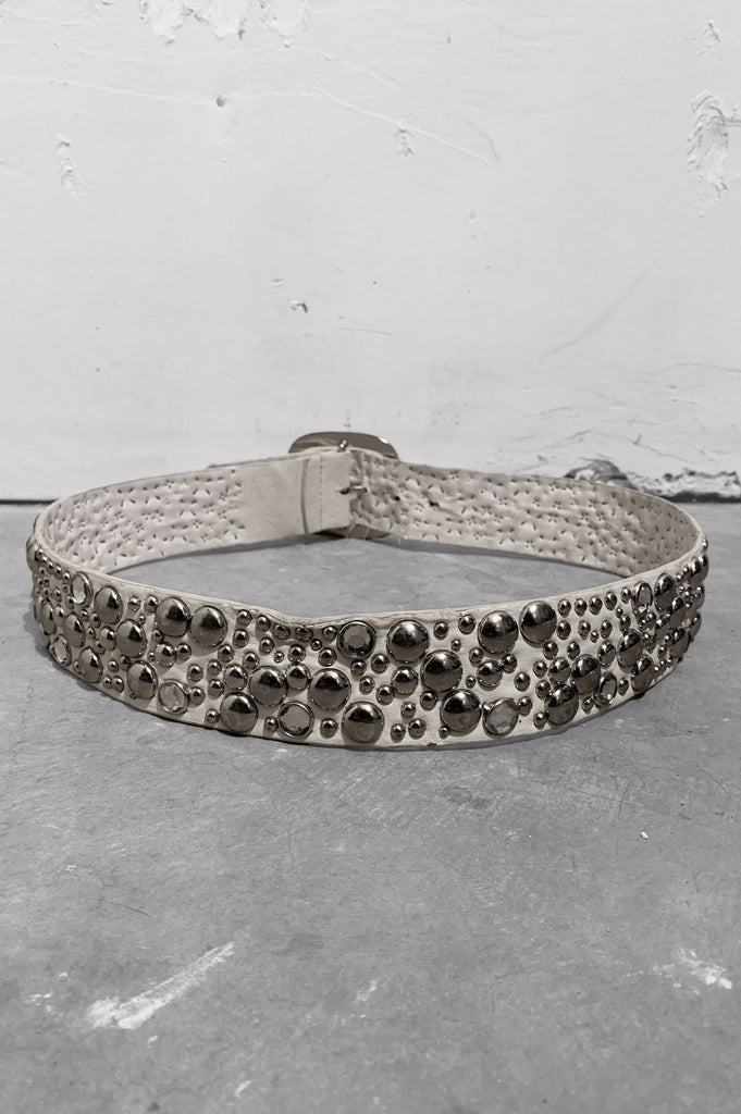 Vintage Heavy Rocker White Wide Leather Studded Gemstone Belt - One More Chance Vintage