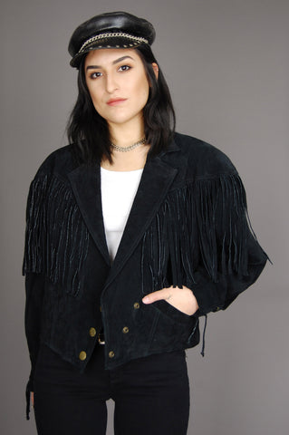 Fringed Out Wilsons Lace Up Suede Leather Jacket