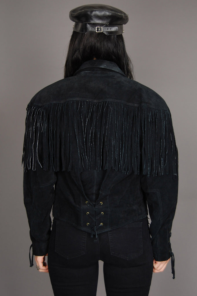 One More Chance Vintage - Vintage Fringed Out Wilsons Lace Up Suede Leather Jacket