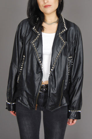 Wilson's Leather Studded Lace Up Back Moto Jacket