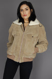 One More Chance Vintage - Vintage Don't Look Back Wilson's Sherpa Suede Bomber Jacket