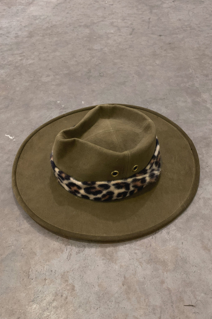 Vintage Windsor Green Outback Australian Leopard Fur Band Fedora Hat - One More Chance Vintage