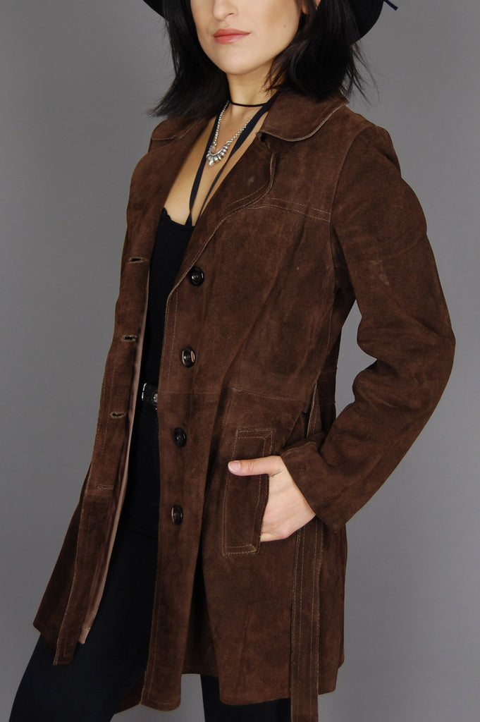 One More Chance Vintage - Vintage Livin' Like I Wanna Suede Leather Trench Jacket