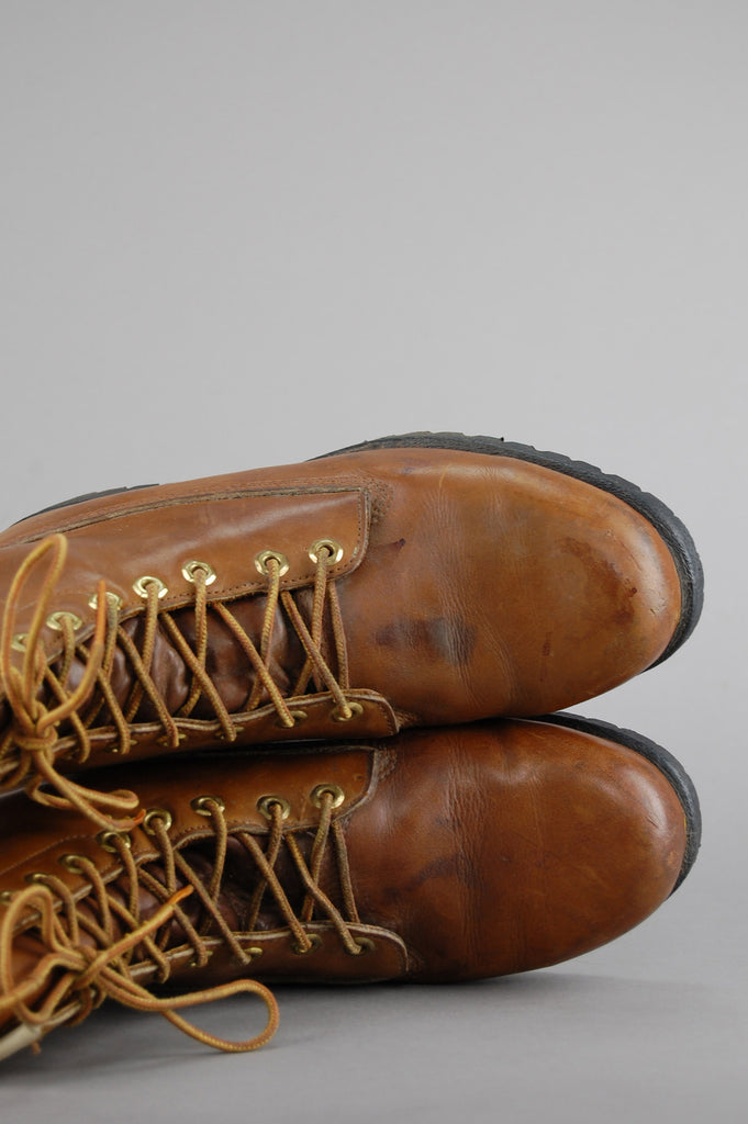 One More Chance Vintage - Vintage Wolverine Insulated Lace Up Brown Leather Engineer Work Boots
