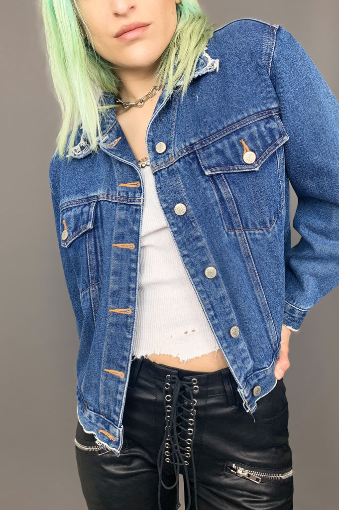 All or Nothin' Blue Jean Distressed Denim Jacket - One More Chance Vintage
